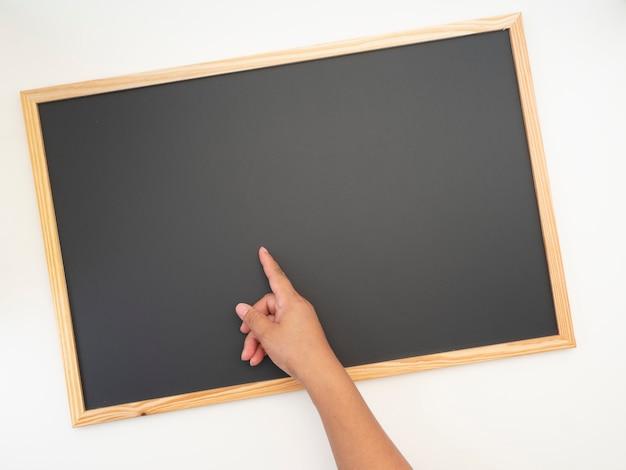 黒板、木枠、設計のための空スペース Premium写真