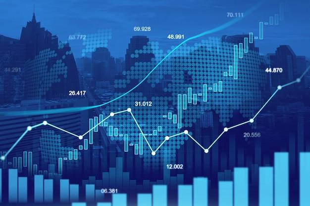 График торговли на фондовом рынке или рынке форекс Premium Фотографии