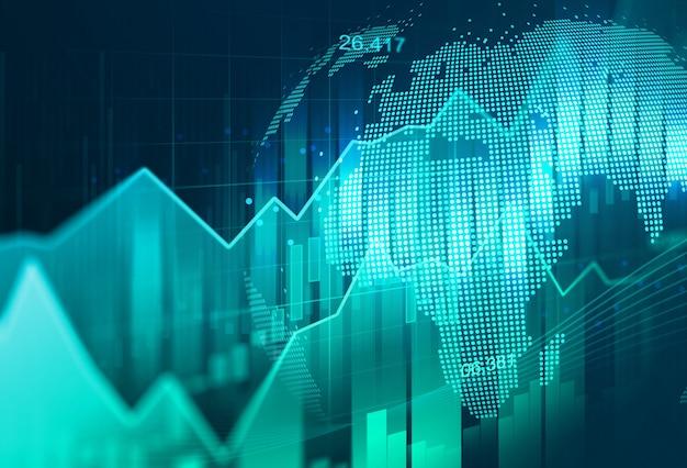金融投資や経済動向のビジネスアイデアやすべての芸術作品デザインに適したグラフィックコンセプトの株式市場や外国為替取引のグラフ。 Premium写真
