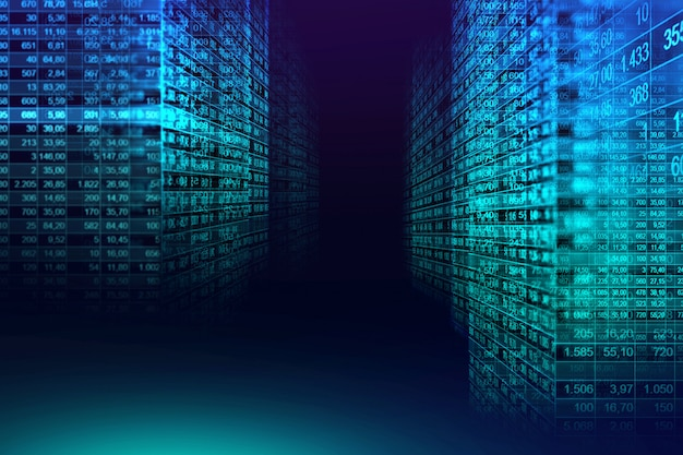 Цифровой двоичный код матрицы фон в графической концепции Premium Фотографии