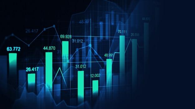 Фондовый рынок или форекс график в графической концепции Premium Фотографии