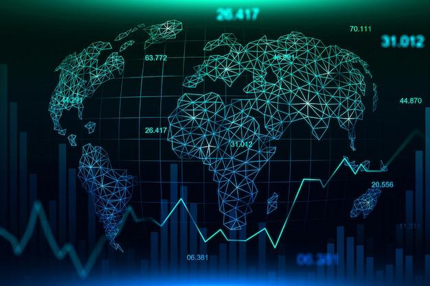 Фондовый рынок или форекс график графика фон Premium Фотографии