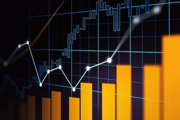 График торговли на фондовом рынке или рынке форекс в графической концепции Premium Фотографии