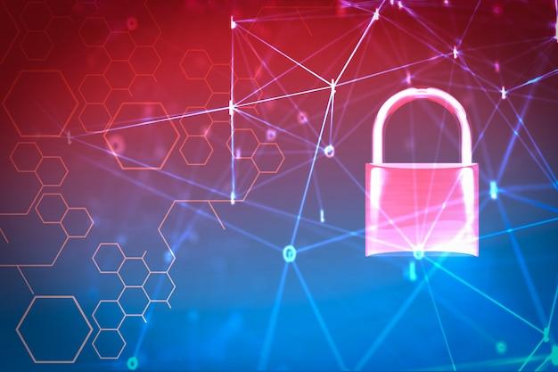 Компьютер систем безопасности данных с заблокированным замком Premium Фотографии