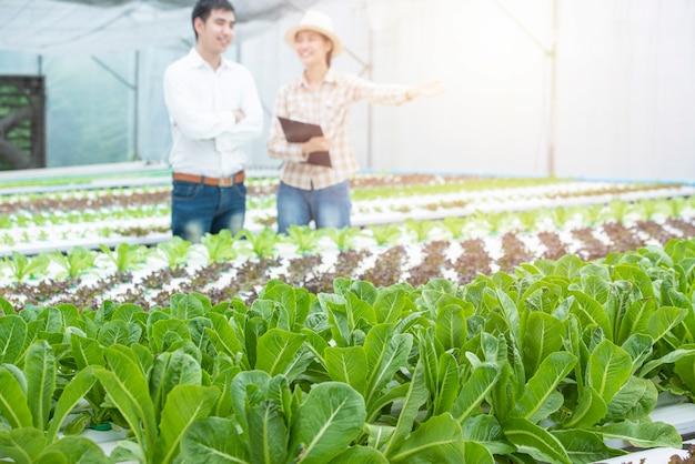 Зеленая гидропонная дубовая ферма с не в фокусе азиатского делового человека и азиатской женщины-фермера Premium Фотографии