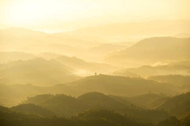 朝の霧と緑の山の範囲の美しい風景 Premium写真