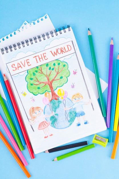 子供たちの惑星の絵、木、子供たち、環境保護の問題、エコロジー。 Premium写真