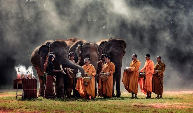 女性はタイの田園地帯、スリン県の仏教の僧侶に食物を贈る Premium写真
