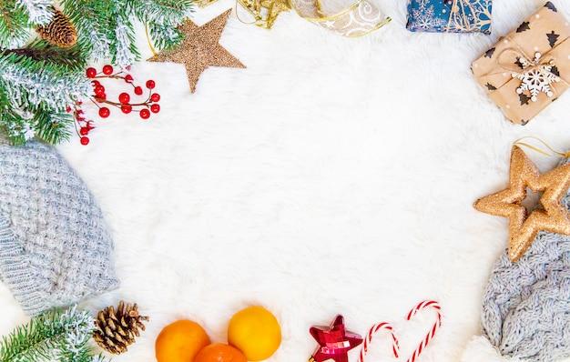 クリスマスの背景。明けましておめでとうございます。選択的なフォーカス Premium写真