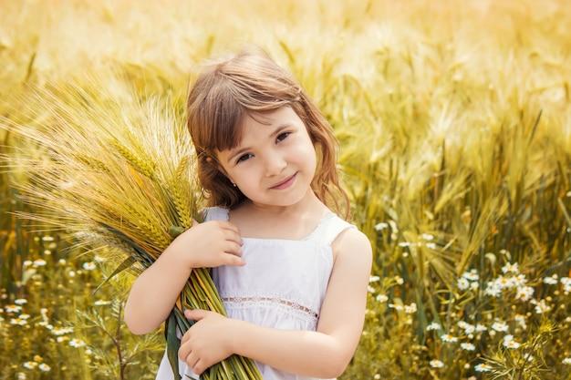 麦畑の中の子供。セレクティブフォーカス自然 Premium写真