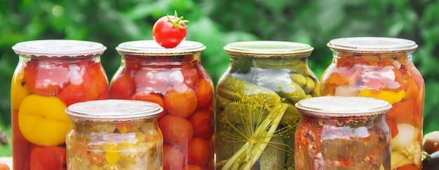野菜の保存ブランクセレクティブフォーカス自然。 Premium写真
