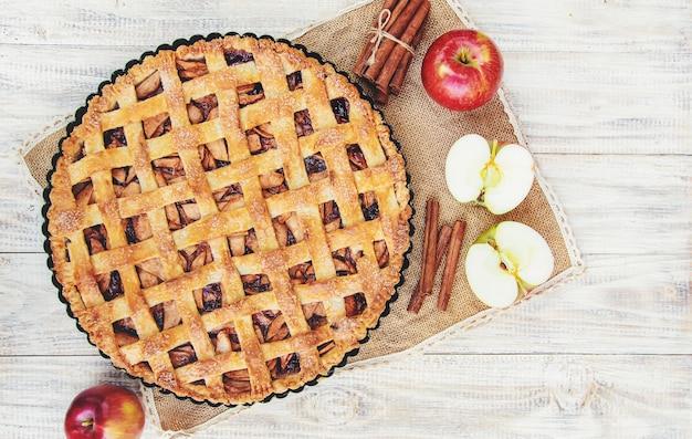 Пирог с яблоками и корицей. Premium Фотографии