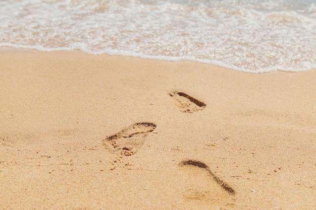 海沿いの砂の足跡 Premium写真