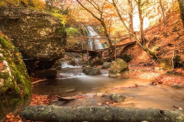 美しい滝と前景の小さな橋のある風景。 Premium写真