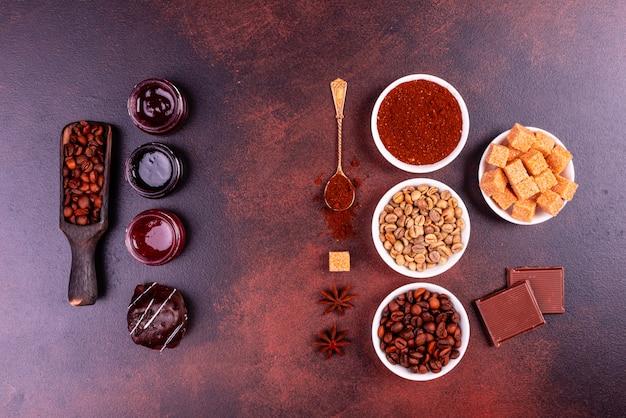 お菓子で爽快な朝のコーヒー。 Premium写真