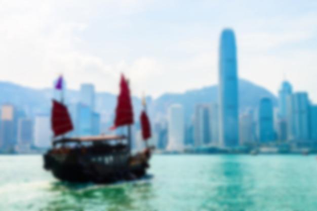 抽象的なぼかし香港のスカイラインの街 無料写真