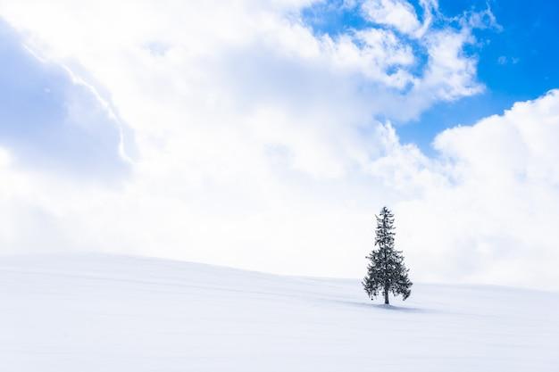 雪の冬の天気シーズンで一人で偽物のクリスマスツリーと美しい屋外の自然風景 無料写真