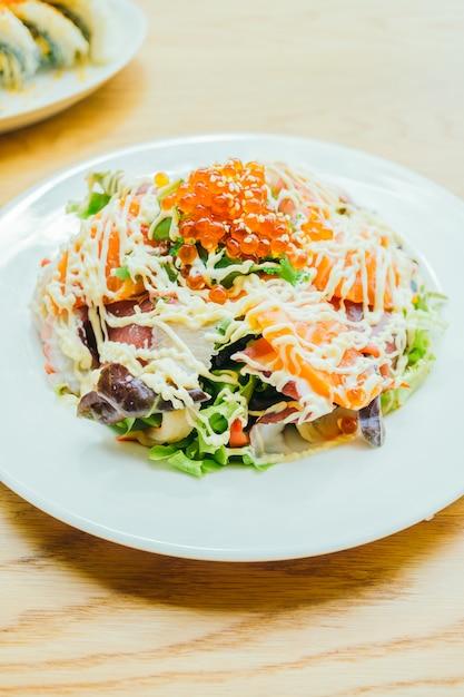 シーフード刺身サラダ 無料写真
