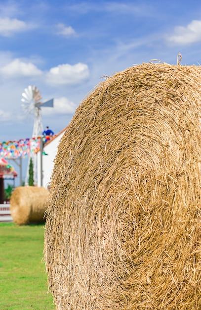 農場で大きなわらロール Premium写真