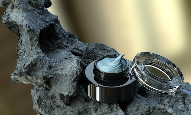 Вулканическая грязь косметический крем для ухода за кожей с открытой черной банкой Premium Фотографии