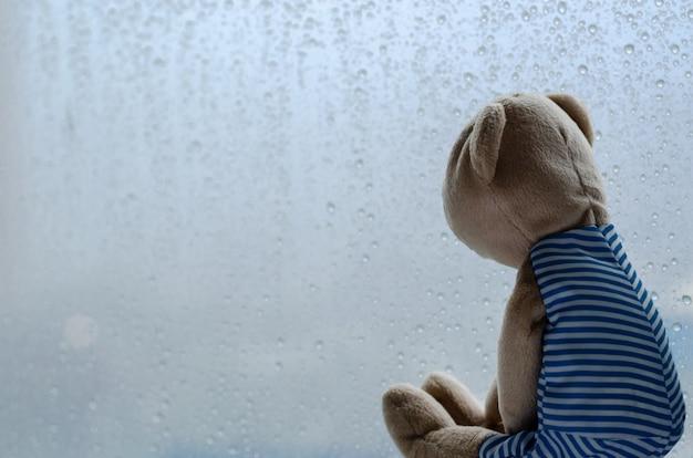 К сожалению, плюшевый мишка сидит и смотрит в окно в дождливый день. Premium Фотографии