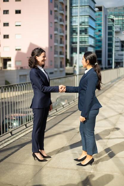 握手の笑顔のビジネスウーマン 無料写真