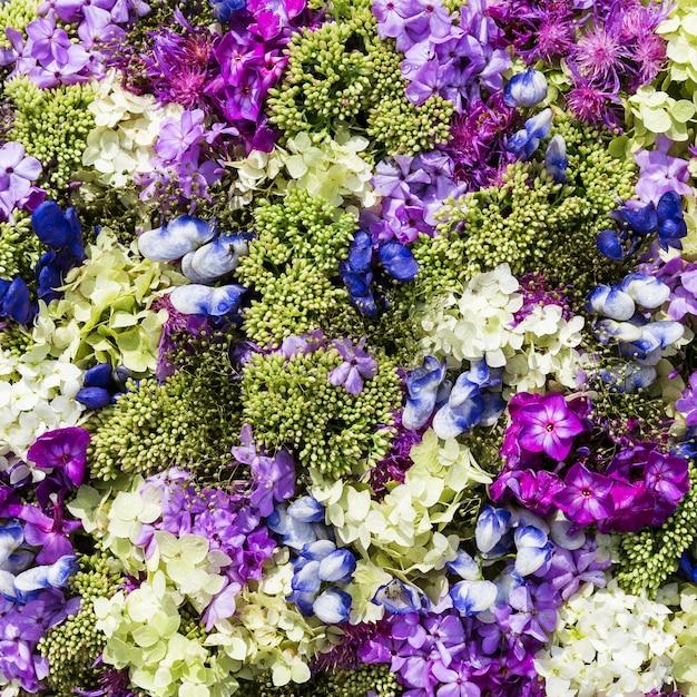 美しい花の背景。上面図 Premium写真