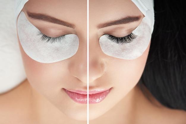 Сравнение нормальных и искусственных косметически увеличенных ресниц Premium Фотографии