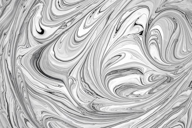 流体アート技術。黒と白の液体塗装紙の背景。抽象的なトレンディな背景、テクスチャ Premium写真