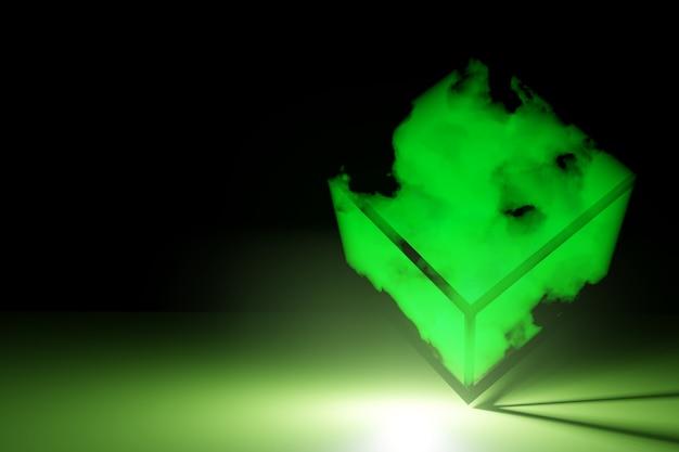 煙と輝く懐中電灯で抽象的な未来的なキューブ Premium写真