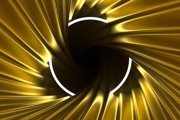 照らされたネオンフレームで照らされた抽象的なゴールドの背景 Premium写真