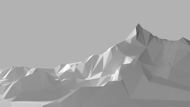 白い山の低ポリ画像 Premium写真