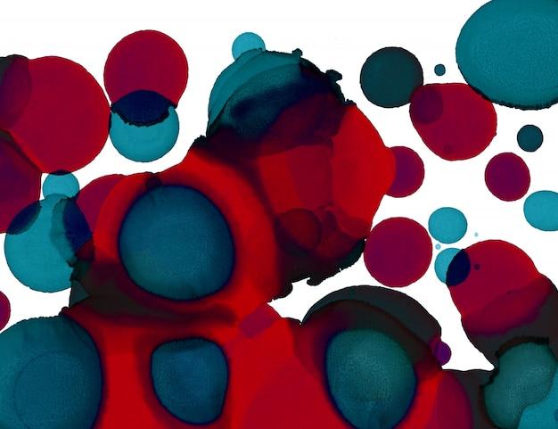 ハンドペイントの質感。抽象的な円図形の背景。アルコールの抽象画。現代現代アート Premium写真