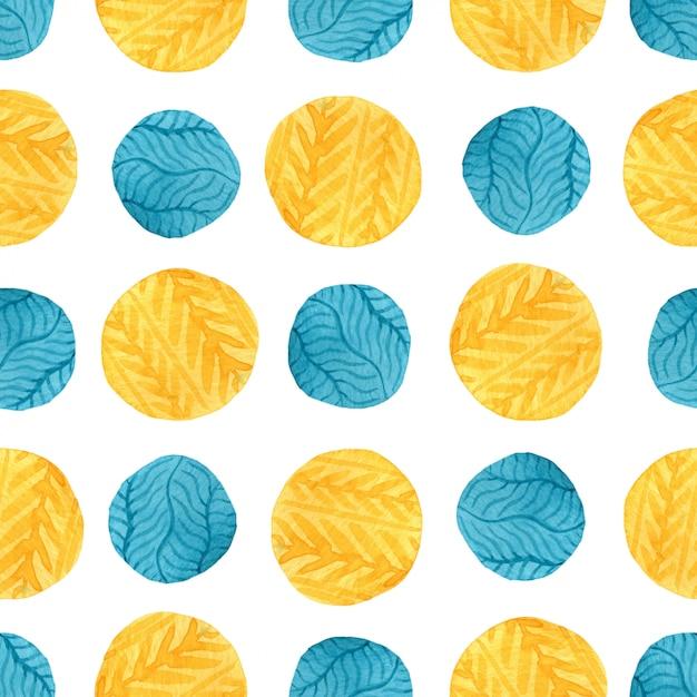 水彩の黄色と青の円のシームレスパターン。 Premium写真