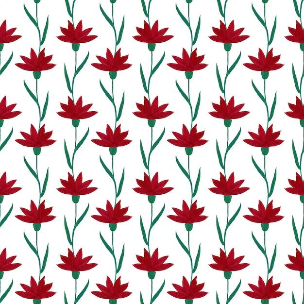 ガッシュの赤い花のシームレスパターン。 Premium写真