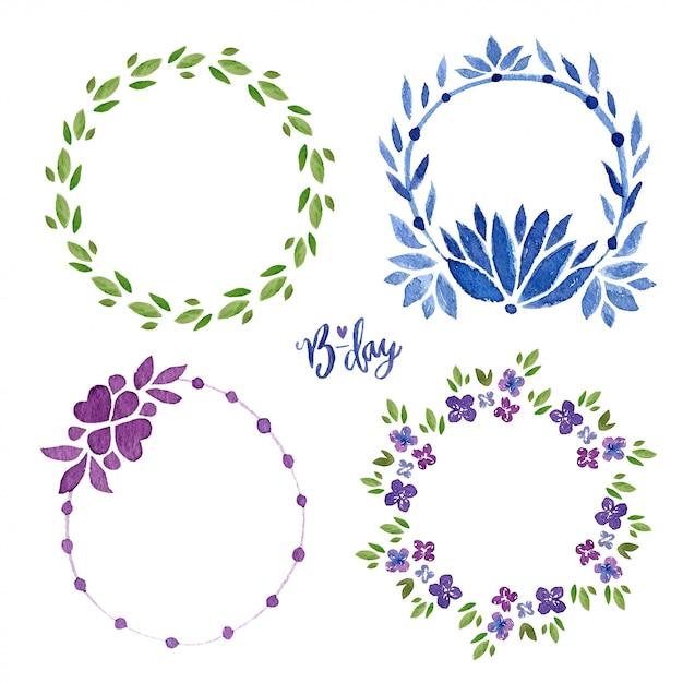 水彩花のフレームコレクション。花輪スプリングセット。招待状やグリーティングカードのための花 Premium写真