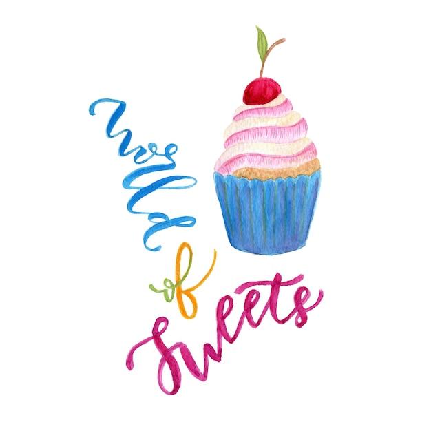 水彩カップケーキのイラスト。甘いアート Premium写真