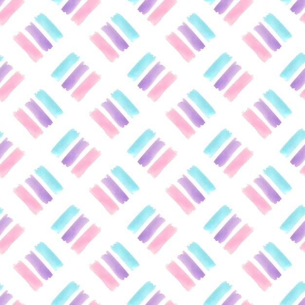 パステルストライプテクスチャと水彩のシームレスパターン。モダンなテキスタイルデザイン Premium写真