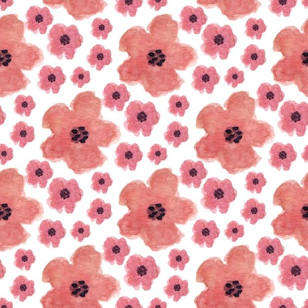 ケシの花と水彩のシームレスなパターン。ラッピング、テキスタイル、パッケージデザインに使用できます。 Premium写真