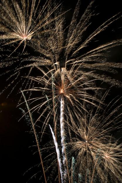 夜の花火、火の城 Premium写真