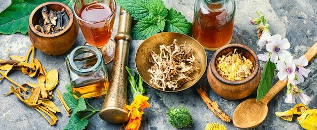 Травяное натуропатическое лекарство Premium Фотографии