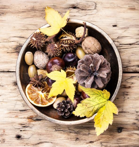 象徴的な秋の生け花 Premium写真