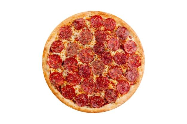 白い背景で隔離のピザ。ホットファーストフード Premium写真