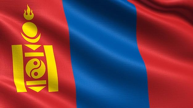 モンゴル国旗、手触りの生地の質感 Premium写真