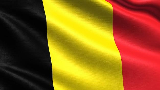 布の質感を振って、ベルギーの旗 Premium写真