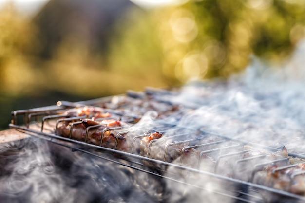 鶏肉はバーベキューグリルで揚げた。 Premium写真