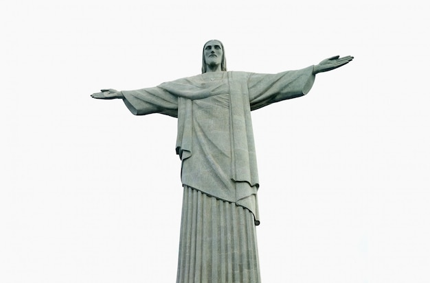 コルコバード山、リオデジャネイロ、ブラジルのコルコバード山の頂上での像 Premium写真