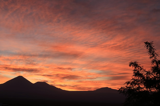 チリ、サンペドロデアタカマの山脈のシルエットの見事な色のグラデーション Premium写真