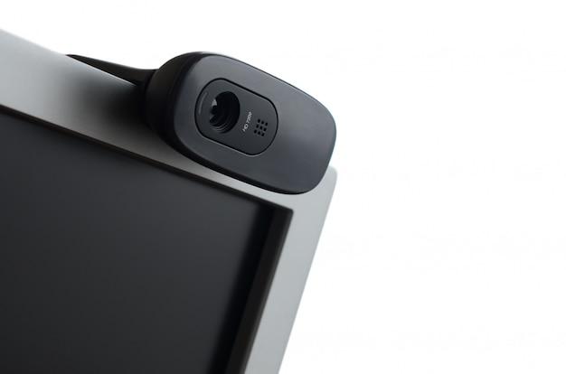 Современная веб-камера установлена на корпусе плоского экрана Premium Фотографии