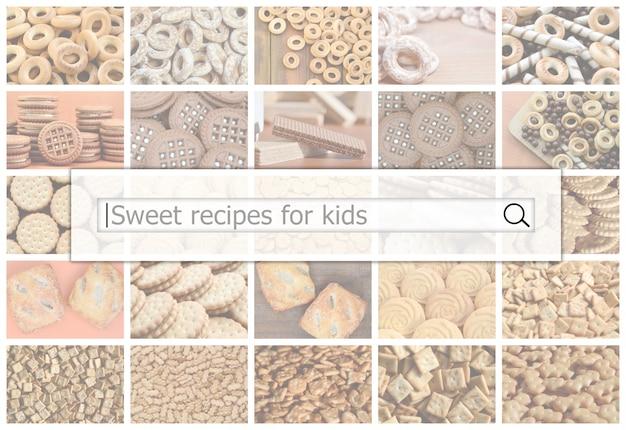お菓子のコラージュの検索バーの可視化 Premium写真